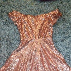 Rose Gold Sequin Off The Shoulder Dress